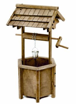 Wooden Wishing Well Ornamental Garden Patio Planter