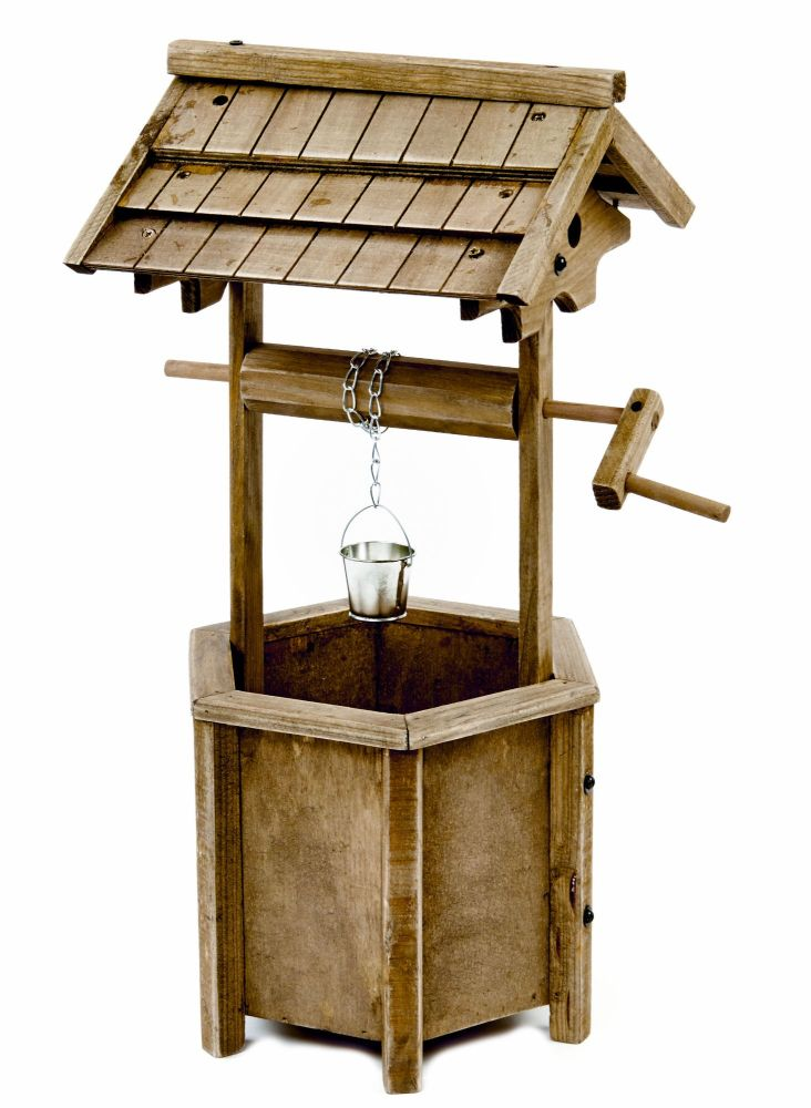 Wooden Wishing Well Ornamental Patio Planter