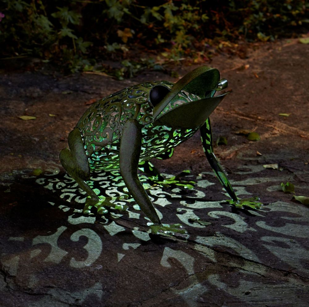 Solar Metal Frog Garden Patio Light Lighting Animal Ornament
