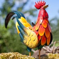 La Hacienda Crowing Rooster Cockerel Metal Garden Animal Ornament