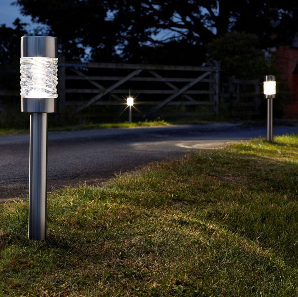 Smart Solar Stainless Steel & Gllass Martello Stake Lights 4pk