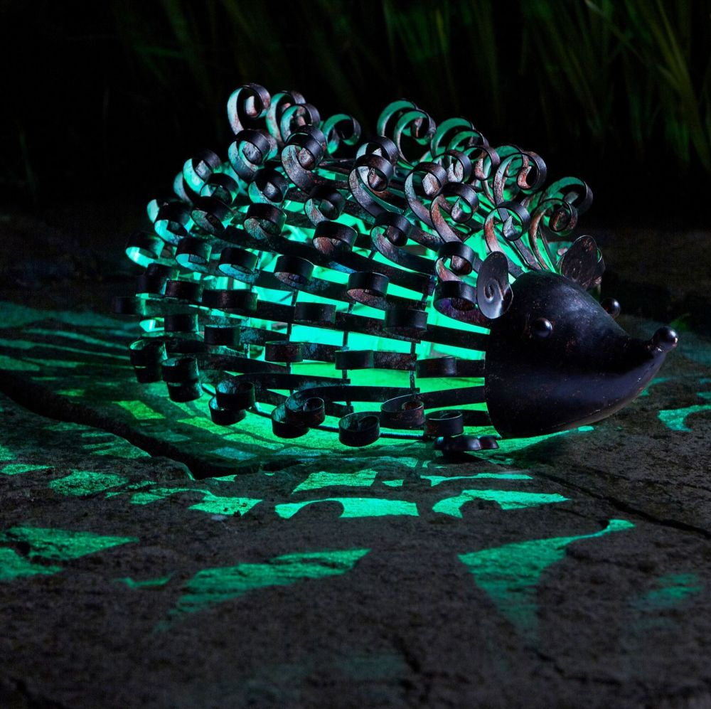 Smart Solar Silhouette Hedgehog Metal Animal Solar Light Ornament