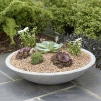 Stewart Varese Decorative Low Bowl Plastic Garden Planter Alpine Grey