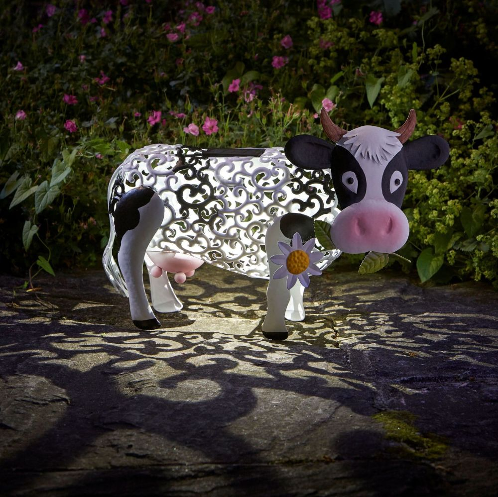 Smart Solar Daisy Cow Metal Animal Patio Solar Light Lighting