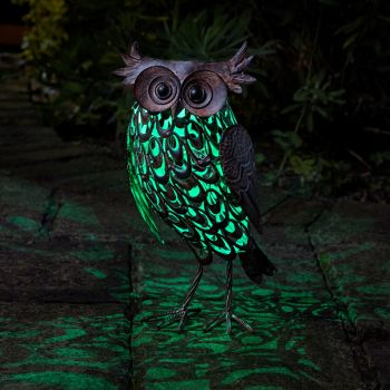 Smart Solar Giant Owl Silhouette Metal Animal Patio Garden Light