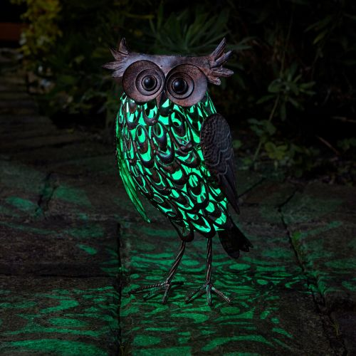 Smart Solar Giant Owl Silhouette Metal Animal Patio Garden Light