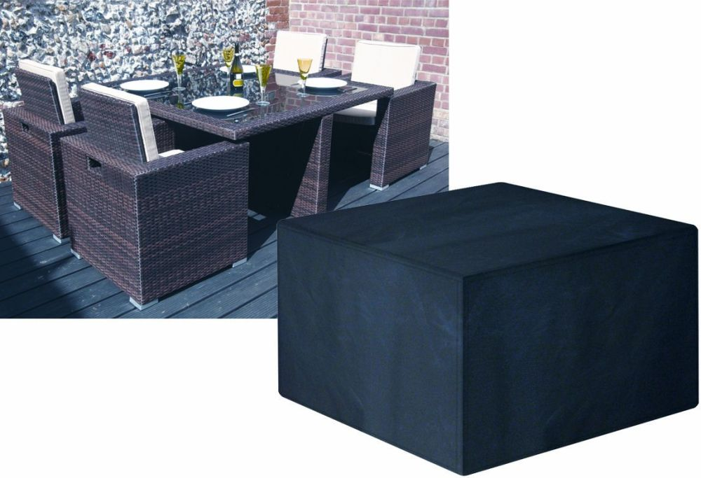 Garland Modular Rattan 4 Seat Seater Small Cube Set Cover Black