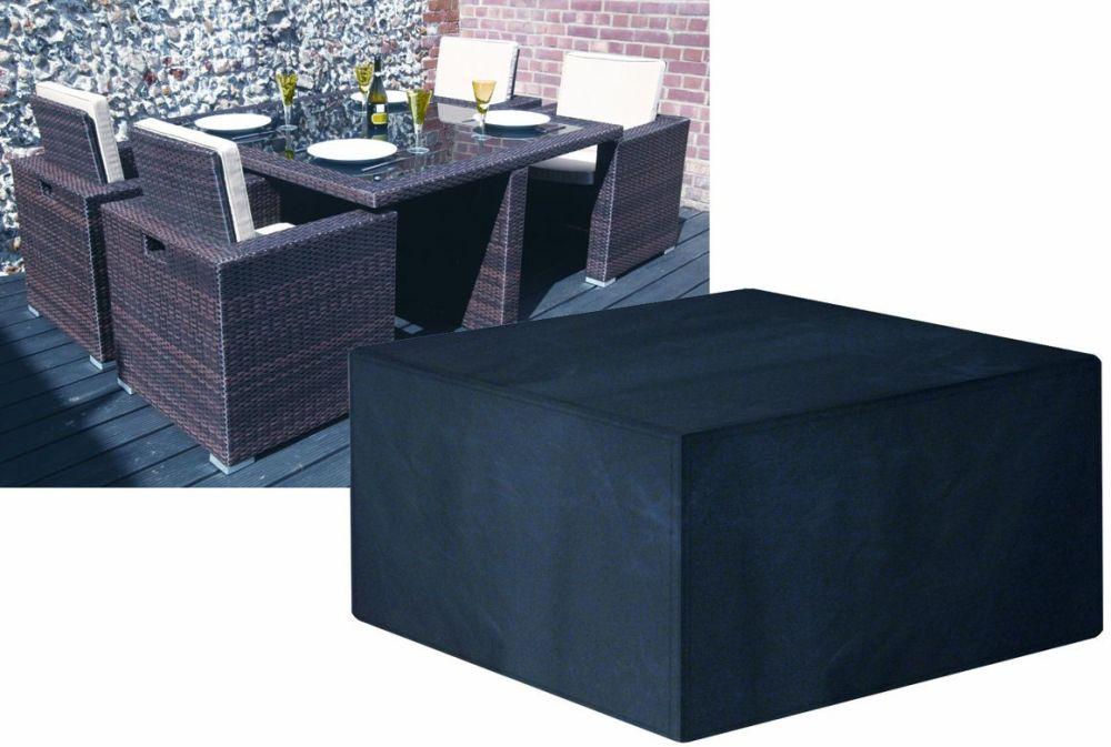 Garland Modular Rattan 4 Seat Seater Large Cube Set Cover Black