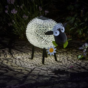 Smart Solar Dolly Sheep Metal Animal Patio Solar Light Lighting