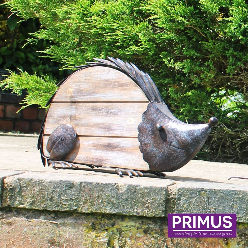 Primus Rustic Hedgehog Metal & Wood Garden Animal Ornament
