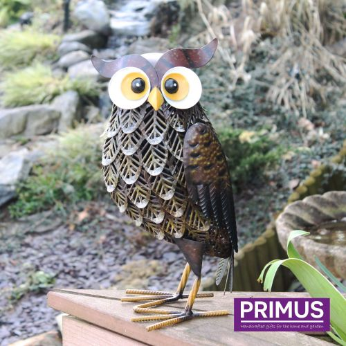 Primus Woodlands Brown Owl Metal Garden Animal Ornament