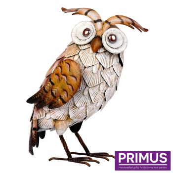 Primus White Metal Owl Garden Animal Ornament