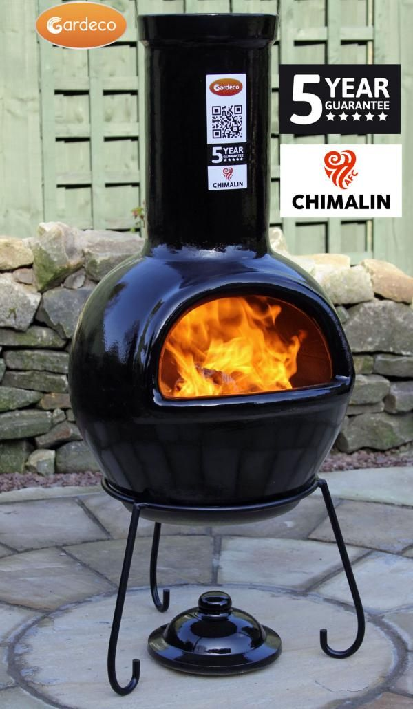 Gardeco Sempra Large Clay Chimenea Chiminea Black  - 5 Yr Guarantee