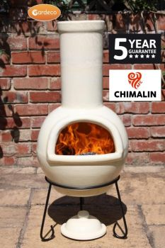 Gardeco Sempra Large Clay Chimenea Chiminea Ivory  - 5 Yr Guarantee