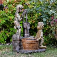 Smart Solar Boy & Girl Water Pump Garden Fountain Water Feature