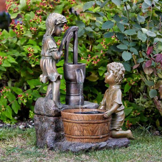 Smart Solar Boy & Girl Water Pump Garden Fountain Water Feature