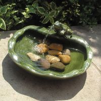 Smart Solar Ceramic Frog Fountain Water Feature