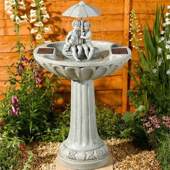 Smart Solar Umbrella Garden Fountain Water Feature
