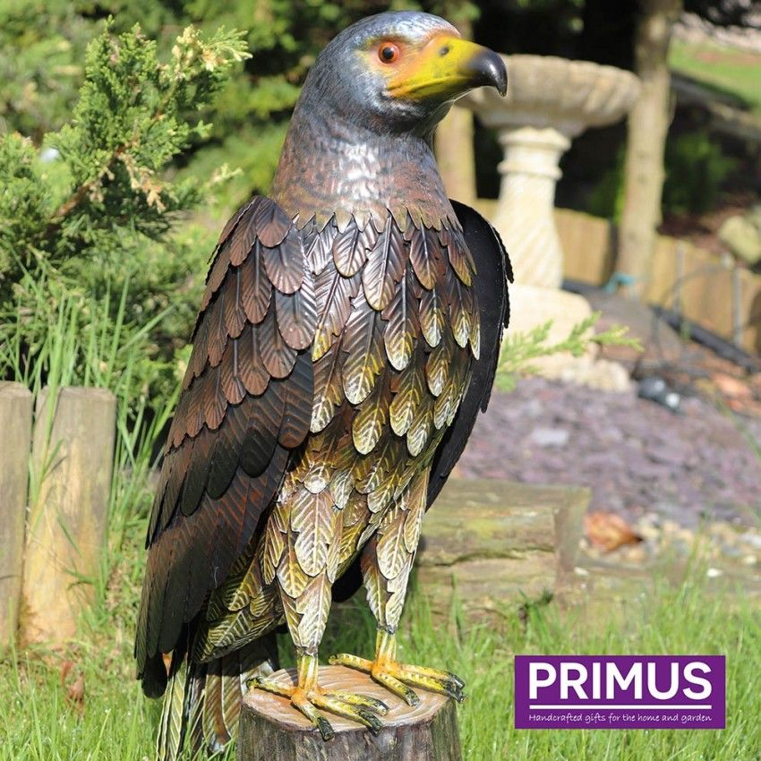 Primus Deluxe Metal Hawk Bird Garden Animal Ornament