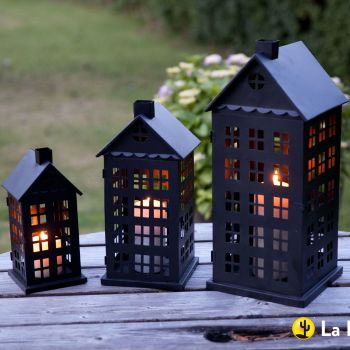 La Hacienda Tall House Steel Candle Lantern Set of 3