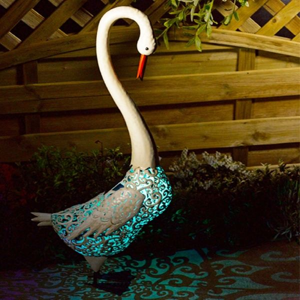 Solar Metal Swan Garden Patio Light Animal Lighting Ornament