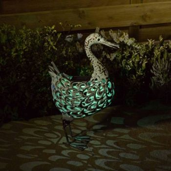 Solar Metal Duck Garden Patio Light Lighting Animal Ornament
