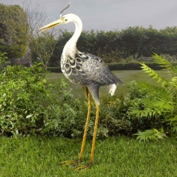 Solar Metal Heron Garden Light Lighting Animal Ornament