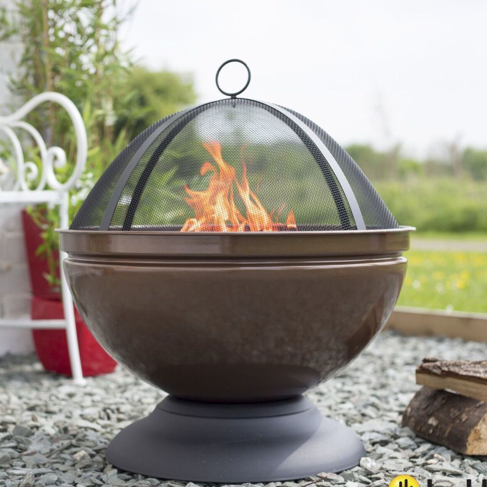 La Hacienda Globe Steel Firepit with Grill - Bronze Colour 58089