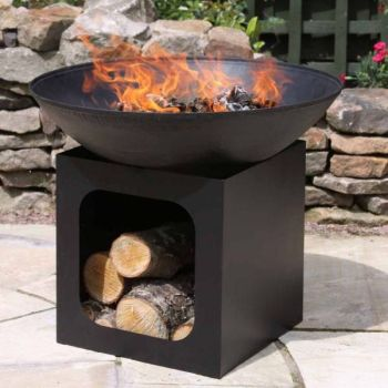 Gardeco Isla Cast Iron Fire Bowl with Steel Log Store