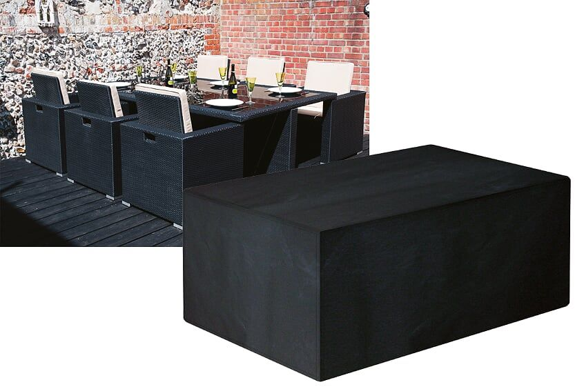 Garland Modular Rattan 6 Seat Seater Rectangular Cube Set Cover Black