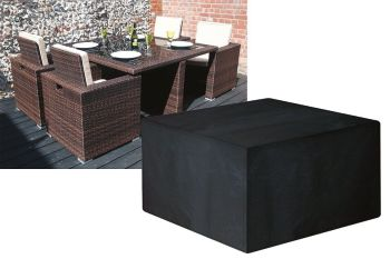 Garland Modular Rattan 4 Seat Medium Cube Set Cover Black W1634
