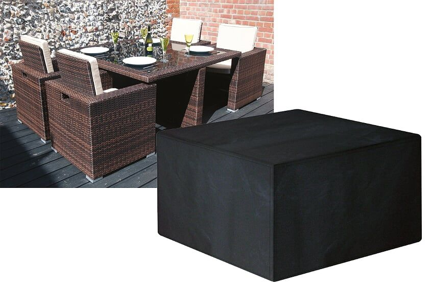Garland Modular Rattan 4 Seat Seater Medium Cube Set Cover Black