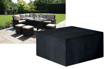 Garland Rattan Large Square Casual Dining Set Cover Black W1641
