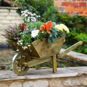 Smart Garden Woodland Large Wooden Wheelbarrow Planter 98cm Long