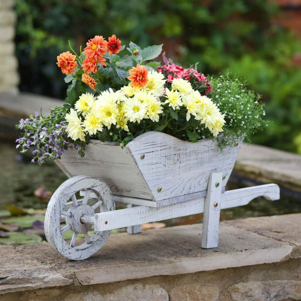 Smart Garden Wooden Whitewash Wheelbarrow Planter Ornament