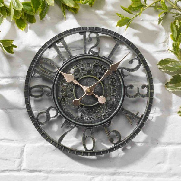 Smart Garden Newby Mechanical Garden Wall Clock - Verdigris