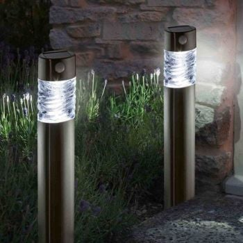 Smart Solar Pharos Motion Activated Steel Garden Bollard Light - 2 Pk