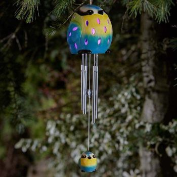 Smart Solar Ceramic Blue Tit Bird Wind Chime Solar Light