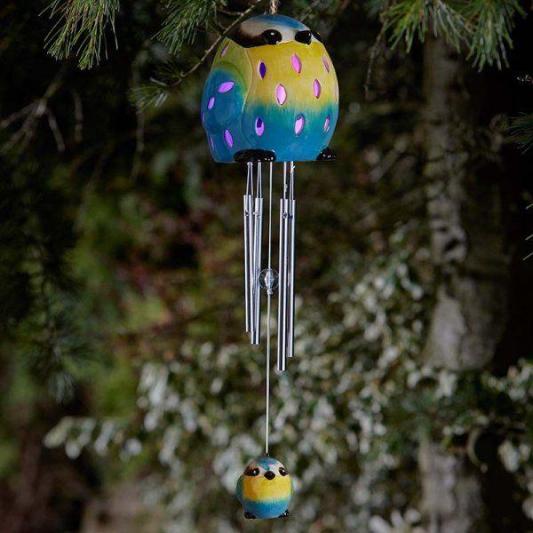Smart Solar Ceramic Blue Tit Bird Wind Chime Solar Light