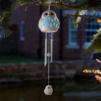 Smart Solar Ceramic Snowy Owl Bird Wind Chime Solar Light