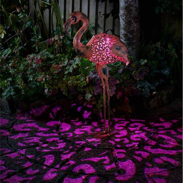Smart Solar Flamingo Silhouette Metal Animal Light Ornament