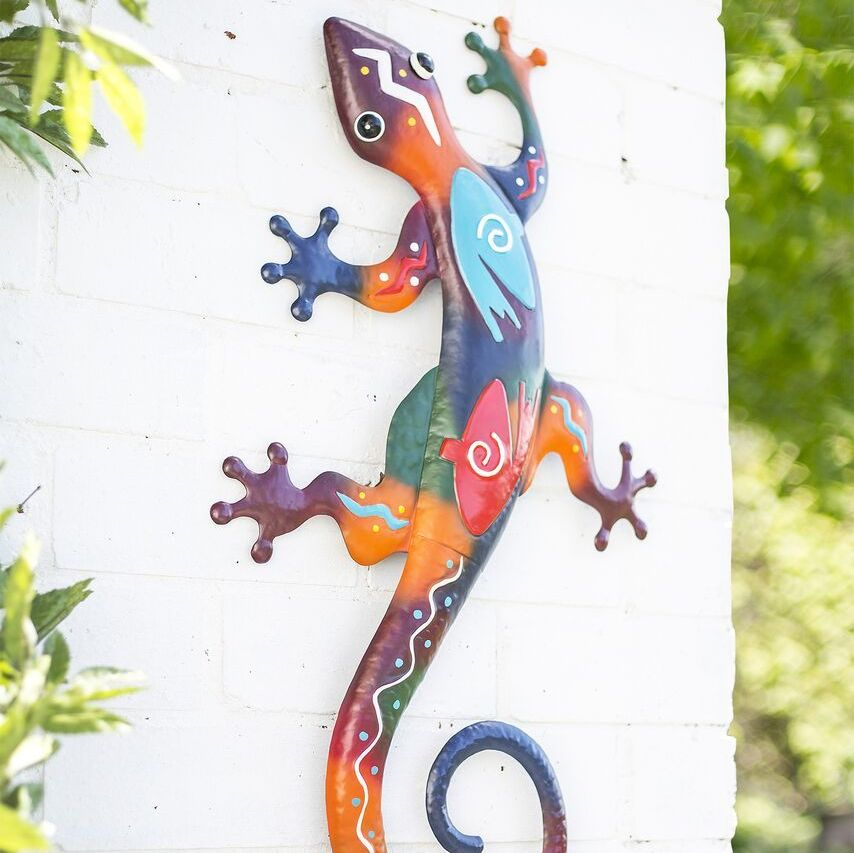 La Hacienda Aztec Lizard XL Metal Garden Animal Wall Art