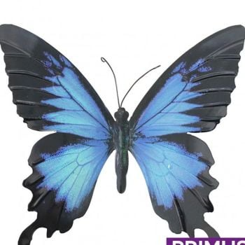 Primus Large Metal Butterfly Wall Art - Blue and Black 35cm x 32cm