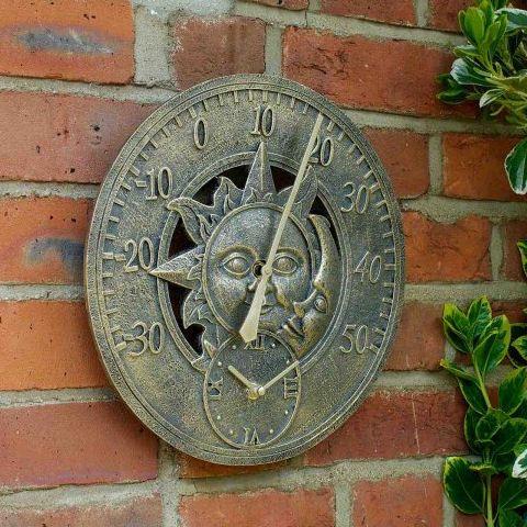 Smart Garden Sun & Moon Wall Thermometer Garden Wall Clock
