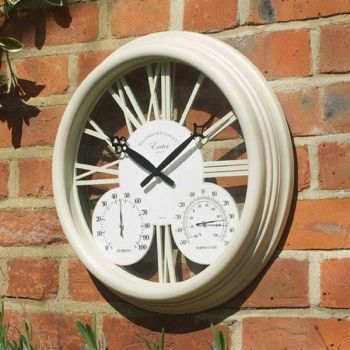 Smart Garden Exeter Cream Garden Wall Clock & Thermometer 15''