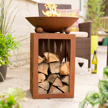 La Hacienda Ochiba Oxidised Steel Firepit with Stand