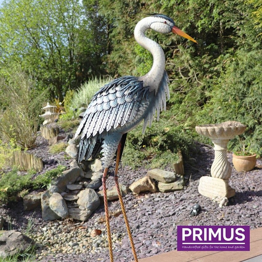 Primus Deluxe Metal Heron Bird Garden Animal Pond Ornament 107cm