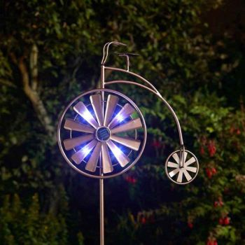 Smart Solar Penny Farthing Wind Spinner Garden Solar Light