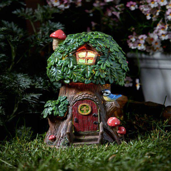Smart Solar Elfin Oak Tree House Garden Solar Lighting Ornament