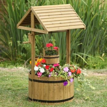 Smart Garden Giant Woodland Wooden Wishing Well Planter 1.25m High